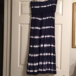 Blue and White Striped Skirt Dress